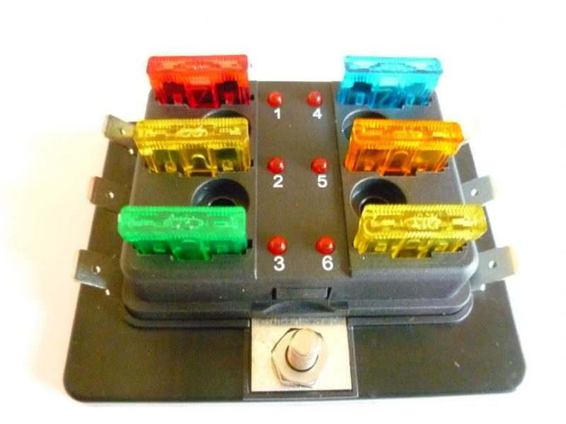 FUSE BOXES with individual L.E.D. blown fuse indicator<br> Available in 4, 6
